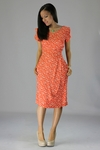 """""""Lily"""" Modest Dress in Coral Bird Print"""