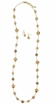 Long Champagne Pearl & Rhinestone Necklace w/Earrings