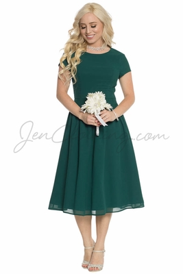 """""""Lucy"""" Modest Bridesmaid or Holiday Dress - Dark Forest Green Chiffon"""