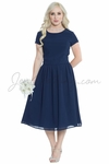 """Lucy"" Modest Bridesmaid or Semi-Formal Dress in Navy Blue Chiffon"