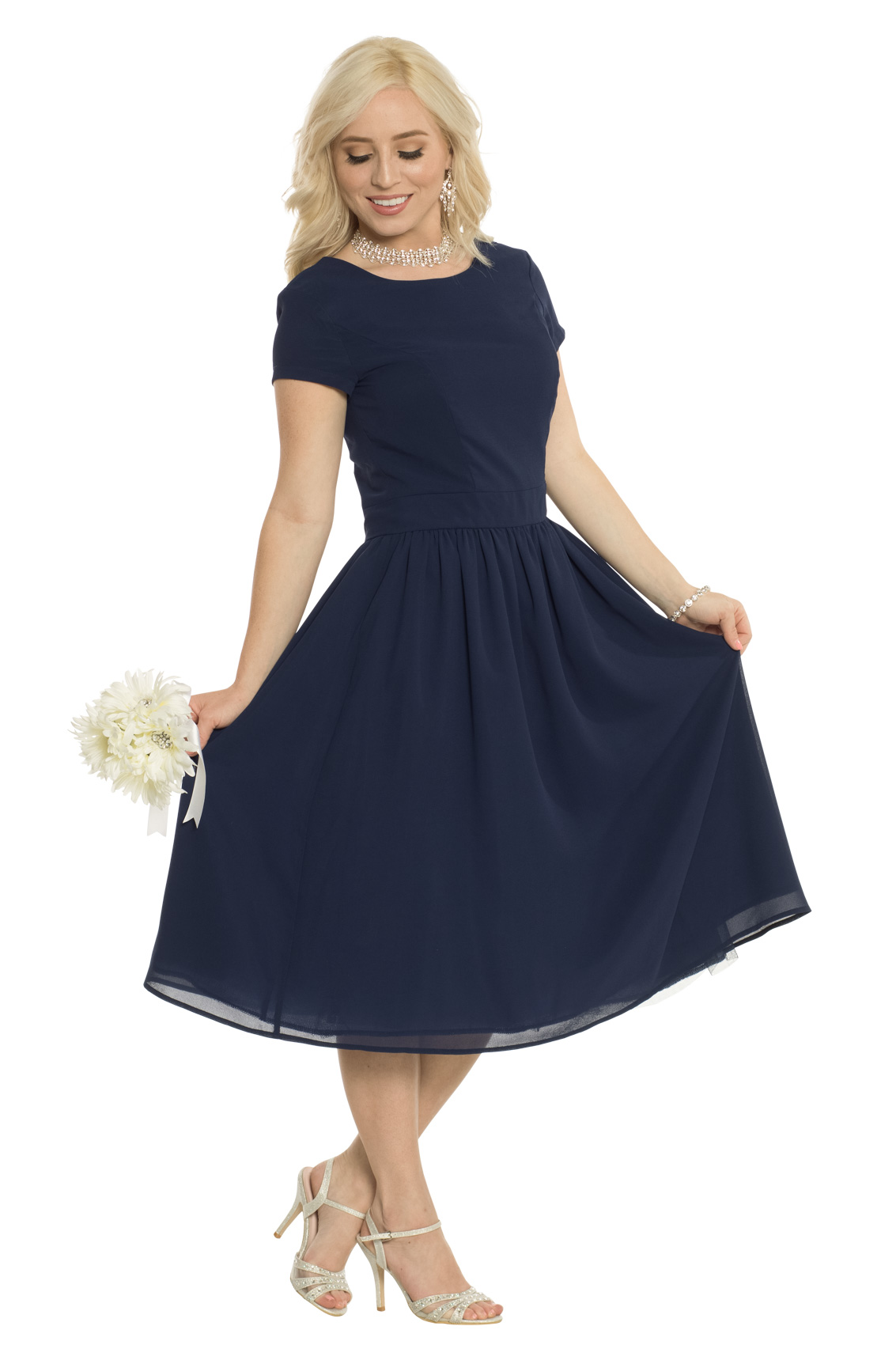 Jenclothings Lucy Semi Formal Modest Dress In Navy Blue
