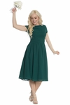 Lucy Modest Bridesmaid Dress in Dark Forest Green Emerald