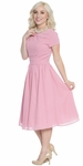 """Lucy"" Modest Bridesmaid Dress or Semi-Formal in Blush Pink Chiffon"