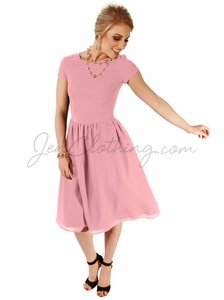 """Lucy"" Modest Dress in Blush Pink Chiffon"