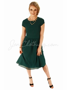 """Lucy"" Modest Dress in Dark Forest Green Chiffon *RESTOCKED*"