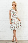 """Madelyn"" Modest Dress in White w/Floral Print"