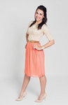 """Madison"" Modest Dress in Beige/Coral"