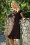 MaKailee Modest Dress in Chestnut Brown