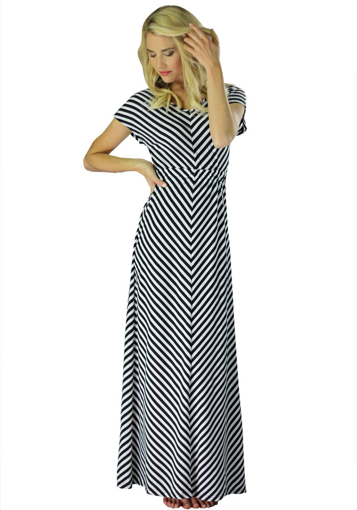 ee1bc78977 Modest Maxi Dress with Short Sleeves in Black and White Stripes