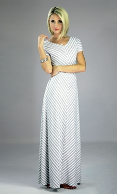 """Makenna"" Modest Maxi Dress in Gray Stripes"