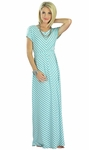 """Makenna"" Modest Maxi Dress in Teal Stripes"