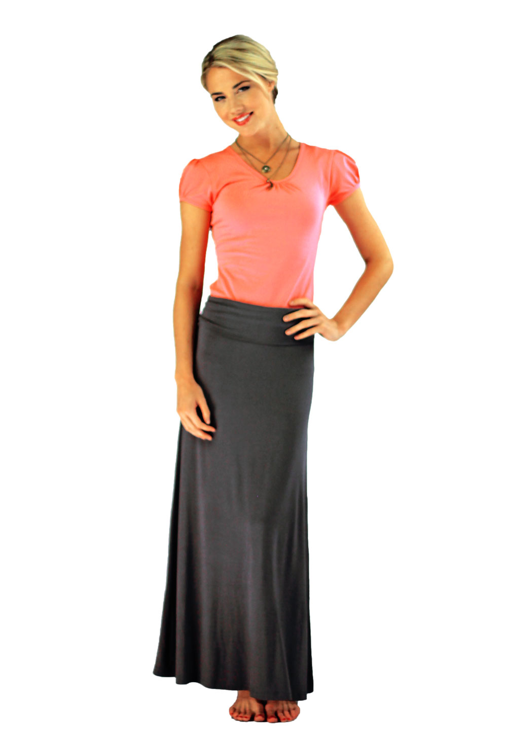 672422cad9 ... Knit Maxi Skirt in Gray ...
