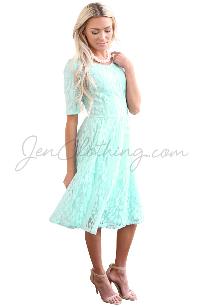 Meadow Knee Length Modest Lace Dress In Light Turquoise Blue