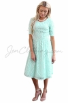 """Meadow"" Modest Dress in Light Turquoise Mint Blue Lace"
