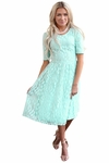 """""""Meadow"""" Modest Dress in Light Turquoise Mint Blue Lace"""