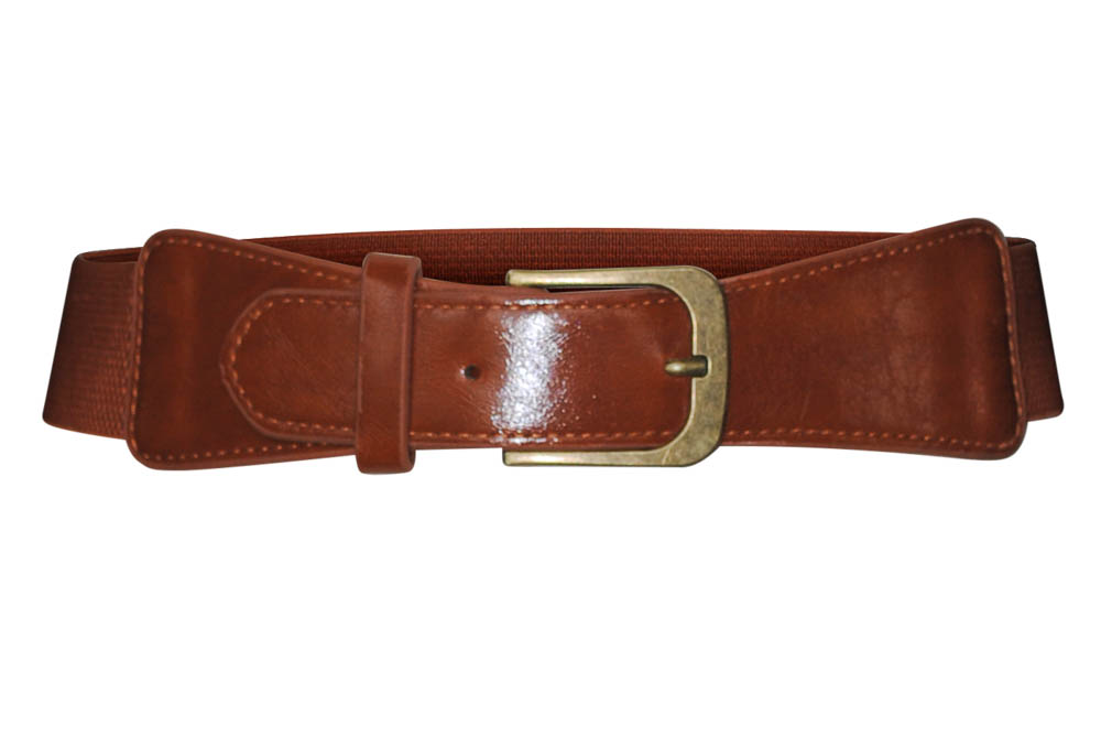medium spandex and faux leather belt in cognac brown