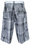 Men's Knee-length Cargo Shorts w/belt in Gray Plaid *RESTOCKED*