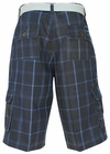 Men's Knee-length Cargo Shorts w/belt in Navy Blue Plaid *Final Sale*