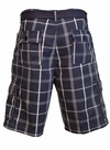 Men's Knee-length Cargo Shorts w/belt in Navy & White Plaid