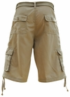 Men's Knee-length Long Cargo Shorts w/belt in Solid Khaki *Final Sale*