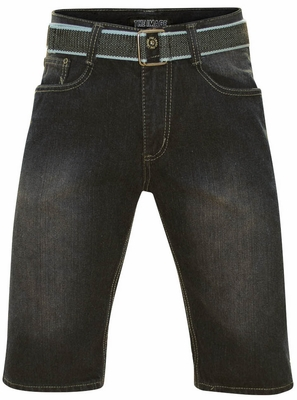 Men's Knee-Length Shorts w/Belt in Blue/Black Denim *Final Sale*