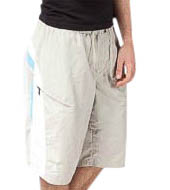 Men's Knee-Length Modest Board Shorts in Khaki Stripe