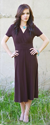 """""""Michelle"""" Modest Dress in Chocolate Brown"""