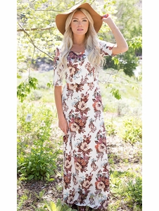 """Michelle"" Modest Maxi Dress in White Floral Print *RESTOCKED*"