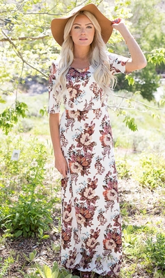 """Michelle"" Modest Maxi Dress with Half Sleeves in White Floral Print"