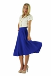 """Midi Crepe"" Modest Skirt in Cobalt Blue"