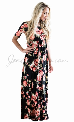 """Miranda"" Modest Maxi Dress in Black w/Bright Coral Floral Print"