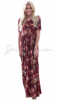 """Miranda"" Modest Maxi Dress in Burgundy w/Floral Print"