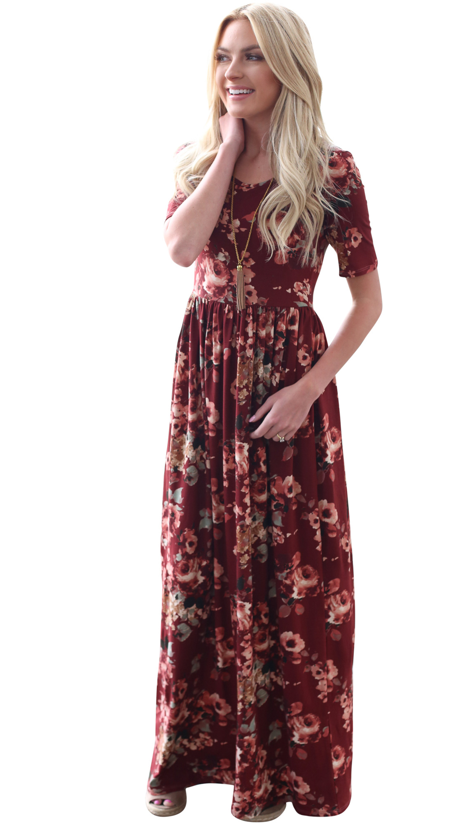 e879dc110f49 Miranda Modest Maxi Dress in Burgundy (Dark Red) w Floral Print