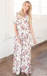 """Miranda"" Modest Maxi Dress in Cream w/Pink Floral Print"