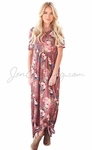 """Miranda"" Modest Maxi Dress in Dusty Pink w/Tan Floral Print"