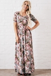 Miranda Modest Maxi Dress in Blue-Gray w/Floral Print