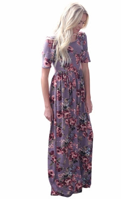"""Miranda"" Modest Maxi Dress with Sleeves in Lavender w/Floral Print"