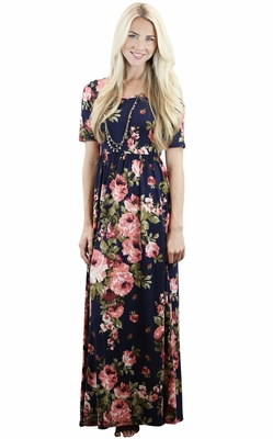 """Miranda"" Modest Maxi Dress in Navy w/Coral Floral Print"