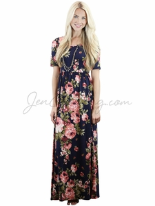 """Miranda"" Modest Maxi Dress in Navy w/Coral Floral Print *RESTOCKED*"