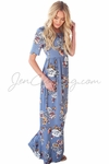 """Miranda"" Modest Maxi Dress in Sky Blue w/Floral Print"