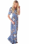 Miranda Modest Maxi Dress in Dusty Blue, Country or Sky Blue w/Flowers