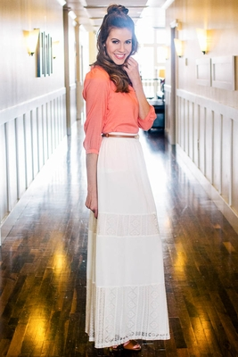 Bohemian Maxi Skirt in Cream with Lace Panels
