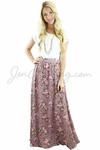 Modest Maxi Skirt in Mauve w/Floral Print