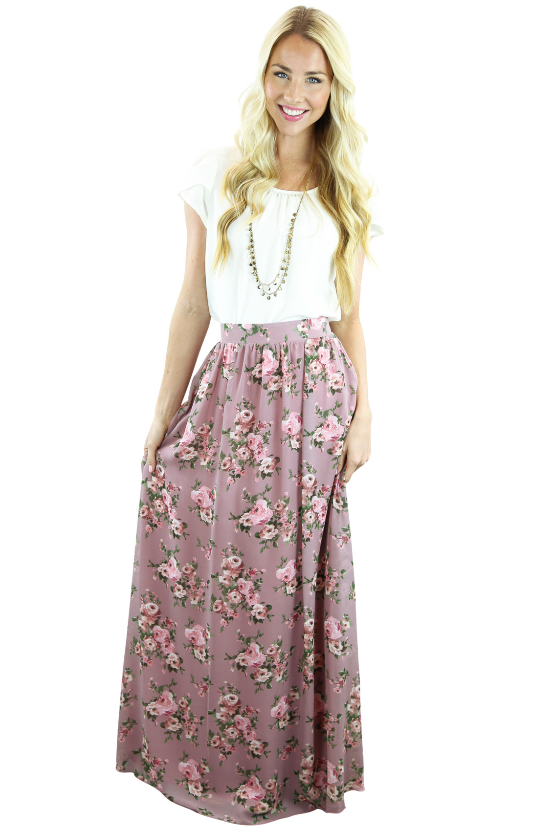 hot-selling fashion on feet shots of best choice Mauve Modest Maxi Skirt w/Pink & Green Floral Print
