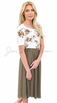 Modest Scoop Neck Top in Cream & Coral Floral