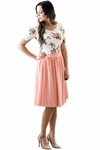 Modest Scoop Neck Top in Cream & Coral Floral Print