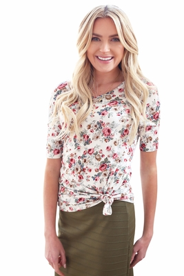 Modest Scoop Neck Top in Ivory w/Small Bright Pink Floral Print
