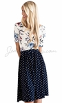 Modest Scoop Neck Top in White & Blue Floral