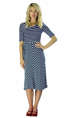 """""""Molly"""" Modest Dress in Navy Stripes"""