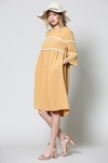 Mya Woven Modest Dress w/Bell Sleeves in Mustard Yellow